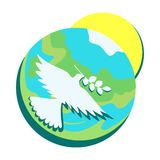 Symbolet av fred, dök med en olivgrön kvist i dess näbb mot bakgrunden av jorden och solen vektor illustrationer