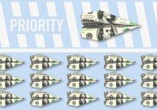 Symbolet av makten av pengar, som ger sig rakt till, privilegierar royaltyfri illustrationer