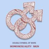 Symbolet av manlig homosexualitet är det dubblerade manliga tecknet med en modell i stam- indisk stil stock illustrationer