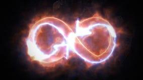 Symbolet av oändligheten glöder i branden Oändlighet 36 stock video
