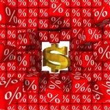 Symbolet av oss dollaren bryter väggen av procentsatser stock illustrationer