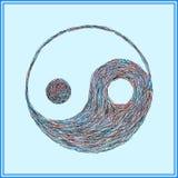 Symbolet av Yin-Yang, målade slaglängder Arkivbild