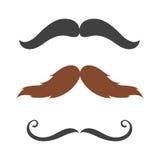 Symbolet för barberaren och för gentlemannen för skägg för samling för hipster för hår för konturvektormustasch danar det lockiga Royaltyfria Bilder