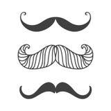 Symbolet för barberaren och för gentlemannen för skägg för samling för vit för mustasch för konturvektorsvart hipster för hår dan Royaltyfri Fotografi