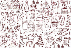 Symboli/lów bożenarodzeniowi Doodles Zdjęcie Royalty Free