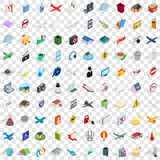 100 symboli/lów ikon ustawiających, isometric 3d styl Obrazy Stock