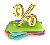 Symboli/lów na złoci procenty kolorowe kredytowe karty. Obraz Royalty Free