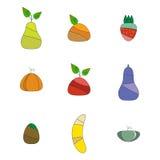 symboli/lów ustaleni owoc i warzywo Zdjęcia Stock