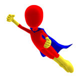 Symbolic 3d male toon character as a super hero. 3D rendering with clipping path and shadow over white Royalty Free Illustration