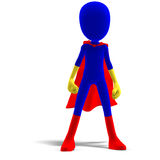 Symbolic 3d male toon character as a super hero stock illustration