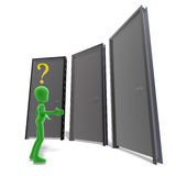 Symbolic 3d male toon character don't know which. Door is the right one. 3D rendering with clipping path and shadow over white Stock Photography