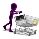 Symbolic 3d male toon character goes shopping Royalty Free Stock Photos