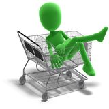 Symbolic 3d male toon character goes shopping Royalty Free Stock Photo