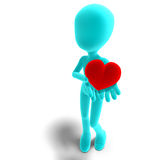 Symbolic 3d male toon character holds his heart. In his hands. 3D rendering with clipping path and shadow over white Stock Photography