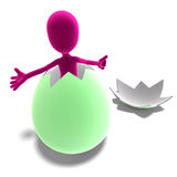 Symbolic 3d male toon character jumps out of the Stock Photography