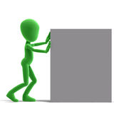 Symbolic 3d male toon character push a big box stock illustration