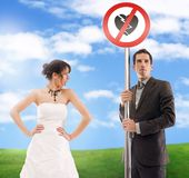 Symbolic. Wedding picture - don't break my heart stock image