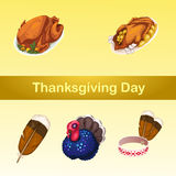 Symbolic attributes of a holiday, five icons Royalty Free Stock Image