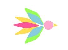Symbolic bird figure. Abstract bird illustration in pastel bright colors Stock Photo
