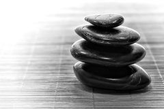 Symbolic Black Zen Stone Cairn for Calm Meditation stock images