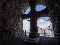 Symbolic cemetery of climbers in mountains Stock Photos