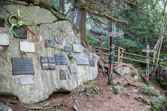 Symbolic cemetery in High Tatras, Slovakia. HIGH TATRAS, SLOVAKIA - AUGUST 27: Symbolic cemetery in High Tatras mountains on August 29, 2015 in High Tatras Stock Image