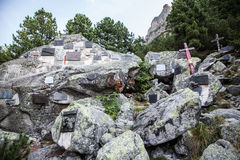 Symbolic cemetery in High Tatras, Slovakia. HIGH TATRAS, SLOVAKIA - AUGUST 27: Symbolic cemetery in High Tatras mountains on August 29, 2015 in High Tatras Stock Images