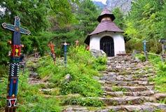 Cementery in the Strbske Pleso region at High Tatras, Slovakia. Symbolic Cemetery in hills of High Tatras royalty free stock image
