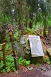 Cementery in the Strbske Pleso region at High Tatras, Slovakia. Symbolic Cemetery in hills of High Tatras stock photography