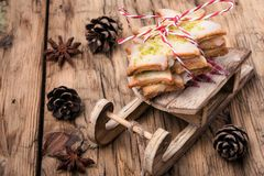 Symbolic christmas cookies. Christmas cookies on Santa Claus symbolic sleigh Royalty Free Stock Images