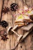 Symbolic christmas cookies. Christmas cookies on Santa Claus symbolic sleigh Stock Photos