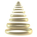 Symbolic Christmas tree made of rings isolated. Symbolic Christmas tree made of glossy golden hoop rings composition isolated on white background vector illustration
