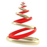 Symbolic Christmas tree made of rings isolated. Symbolic Christmas tree made of golden and red glossy hoop rings composition isolated on white background stock illustration