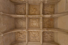 Symbolic coffered ceiling. Coffered ceiling of Dampierre-sur-Boutonne castle in charente maritime , France Stock Image