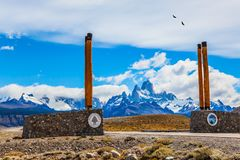 Symbolic columns on highway to Mount Fitz Roy stock images