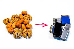 Symbolic composition of nuts and memory cards. Composition of nuts and memory cards. Symbolizes the useful properties of nuts to improve human memory stock photo