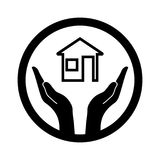 Symbolic conceptual image of the house and hands. Vector illustration Stock Images