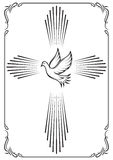 Symbolic cross and dove. Template emblem for church. Vector illustration for design. Royalty Free Stock Image