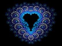 Symbolic diamond heart-shaped blue heart that. Symbolizes love. Fractal art graphics Royalty Free Stock Photo