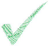 Symbolic ecological  green check mark creaded with words Stock Image