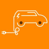 Symbolic electric car with plug. Symbolic electric car outline with electric plug Stock Image