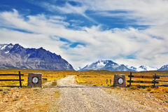 The symbolic entrance to the National Park Perito Moreno. Argentine Patagonia. Always open the symbolic entrance to the National Park Perito Moreno. The gravel Royalty Free Stock Images
