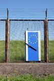 Symbolic European Border. Illustrating Europe's doors are closed (The barbed wire fence is not at the European border. It's a remainder of the former customs Stock Images