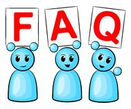 FAQ people. Symbolic figures holding up signs saying: FAQ stock illustration