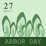Creative concept illustration for the celebration of Arbor Day. Can be used for poster, badge, Logo, greetings, print. Symbolic forest. The logo of the stylized Royalty Free Stock Photos