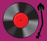 Symbolic gramophone with vinyl record, retro DJ mixer, illustration Royalty Free Stock Photos