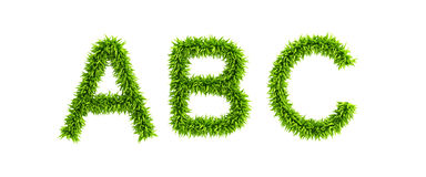 Symbolic grassy alphabet. 3d rendering Royalty Free Stock Images