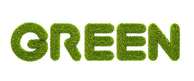 Symbolic grassy word. Green 3d rendering Royalty Free Stock Images