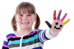 Symbolic hand of happy young painter Stock Photo