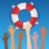 Symbolic hands reach for lifebuoy Stock Images